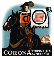 CORONA Tribute Banner, Hareld from Corona poster stamp announcing the company is no longer the Standard Typewriter Co.