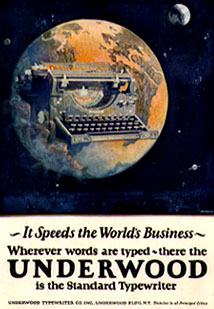 Underwood Typewriter ad from original article