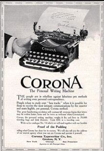 1916 Corona Typewriter ad from S.L. Johnson archive, replaces lost original ad